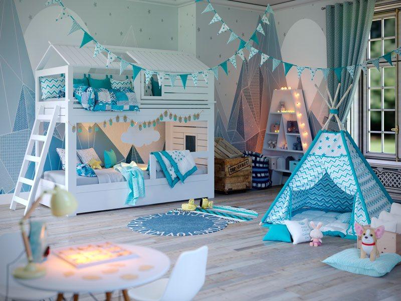 2-ярусная кровать-домик для 2 детей Твин фото