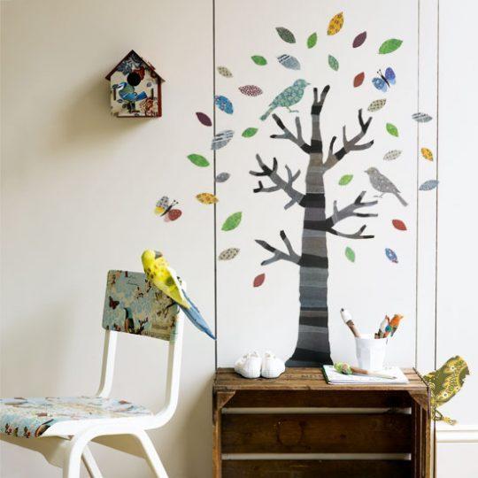 Идея дизайна детской: декоративные наклейки на стене
