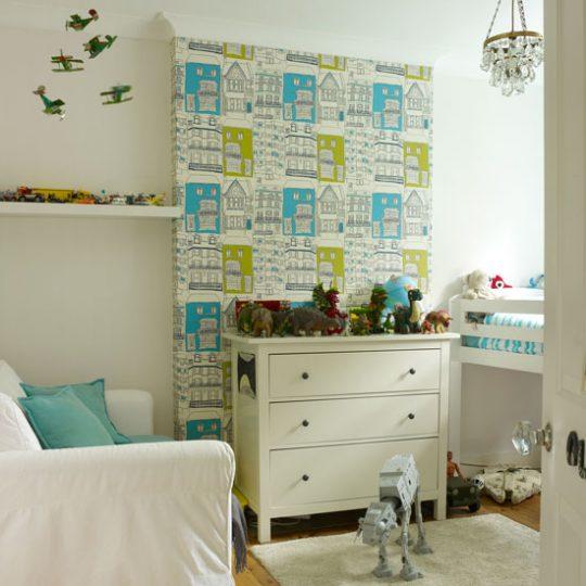 Декор стен в детской: обои с графическим орнаментом