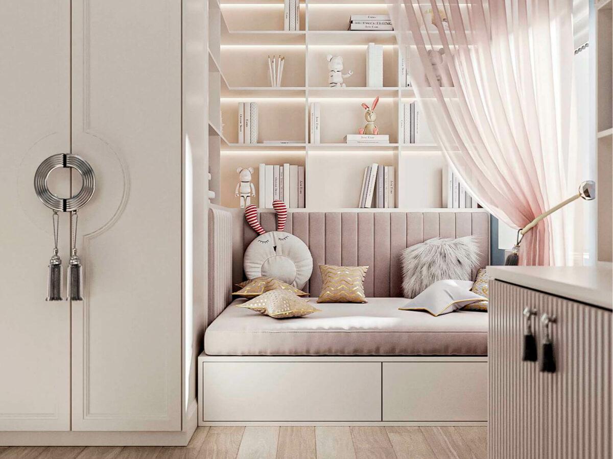 Бежевая мебель детской спальни девочки 9 лет проект 5687-2