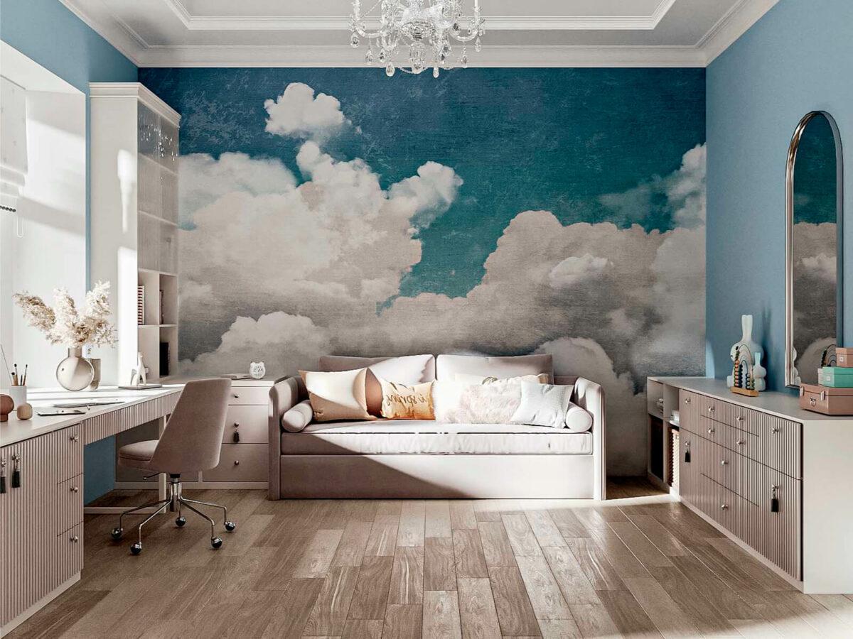Бежевая мебель детской спальни девочки 9 лет проект 5687-4