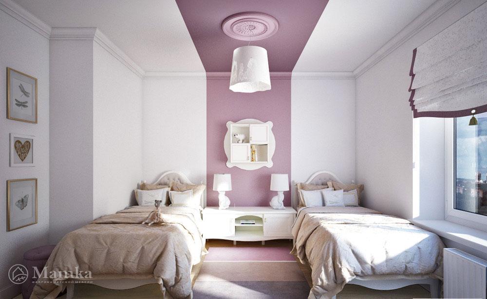 Дизайн детской комнаты для двух сестер с элегантной мебелью 1