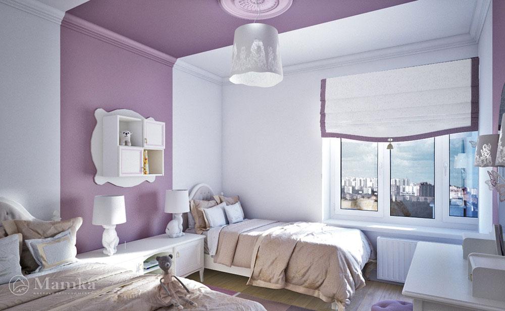 Дизайн детской комнаты для двух сестер с элегантной мебелью 2