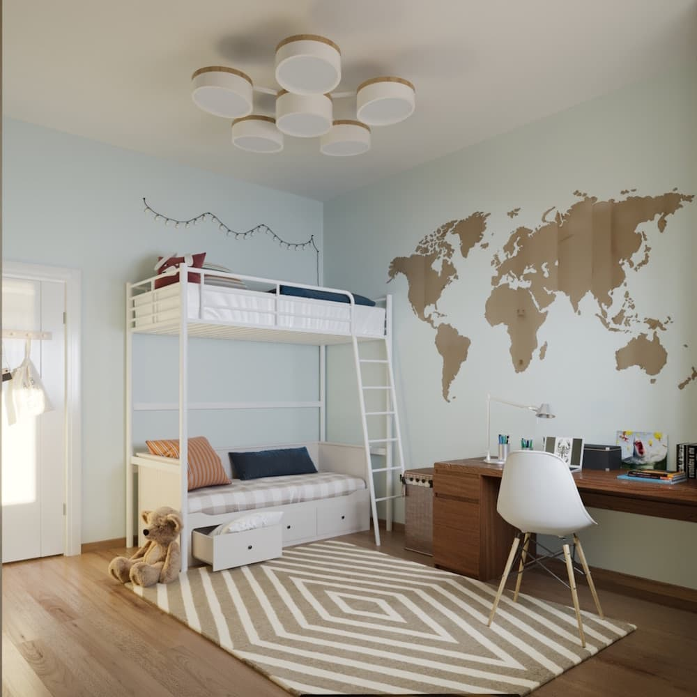 Детская комната для мальчика с лаконичным оформлением 6