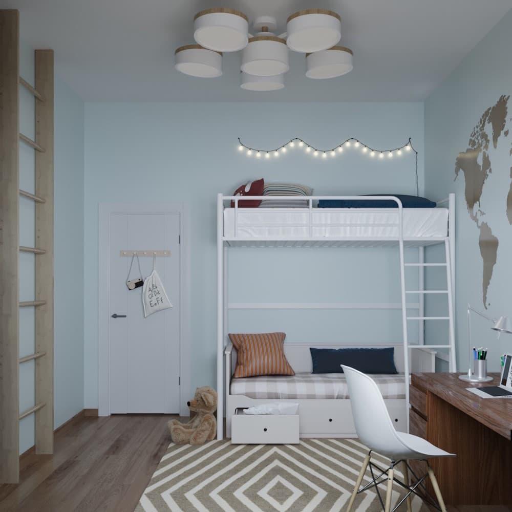 Детская комната для мальчика с лаконичным оформлением 7