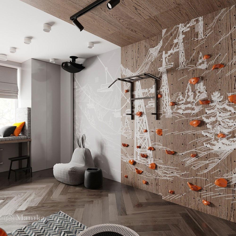 Детская комната для мальчика с просторной спортивной зоной 4