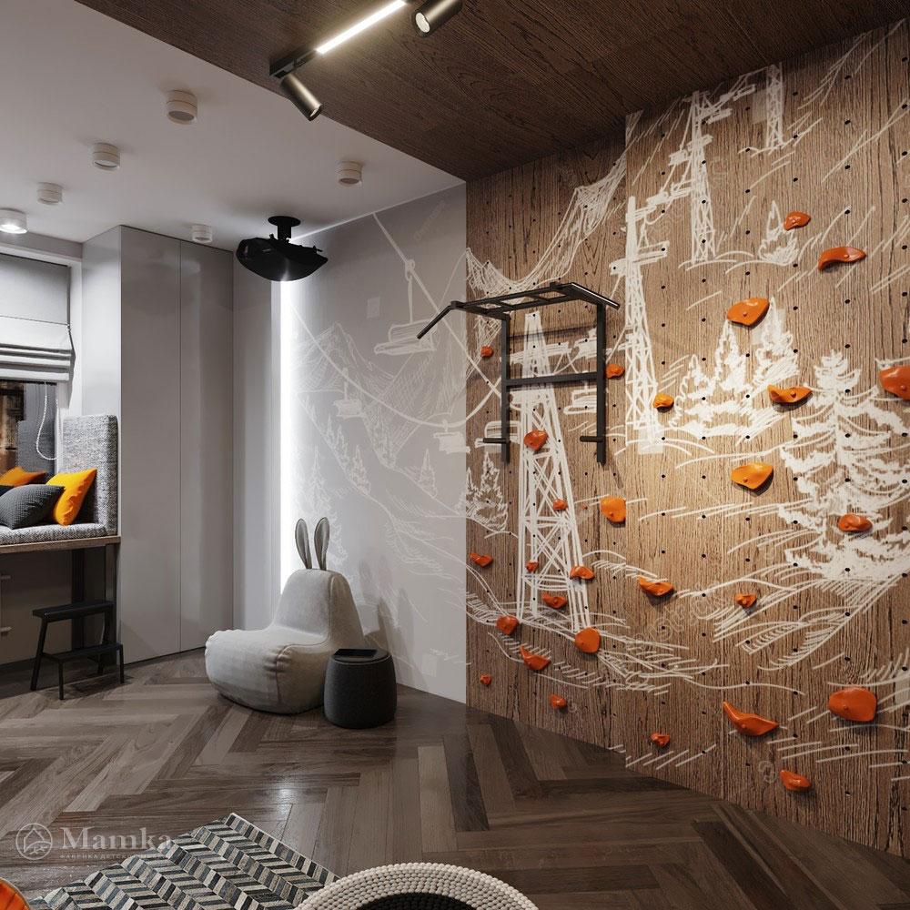 Детская комната для мальчика с просторной спортивной зоной 5