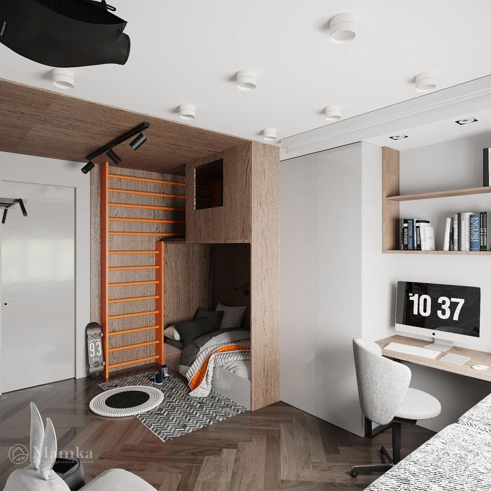 Детская комната для мальчика с просторной спортивной зоной 6