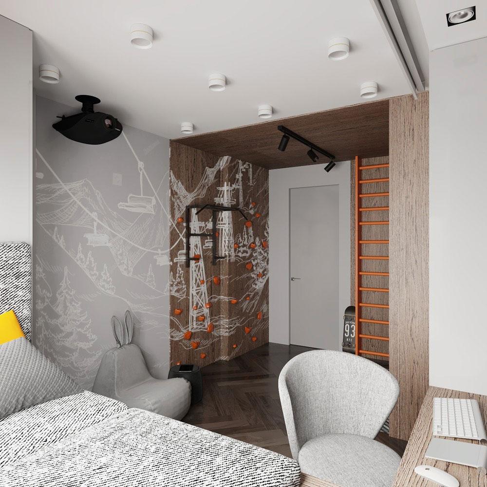 Детская комната для мальчика с просторной спортивной зоной 8