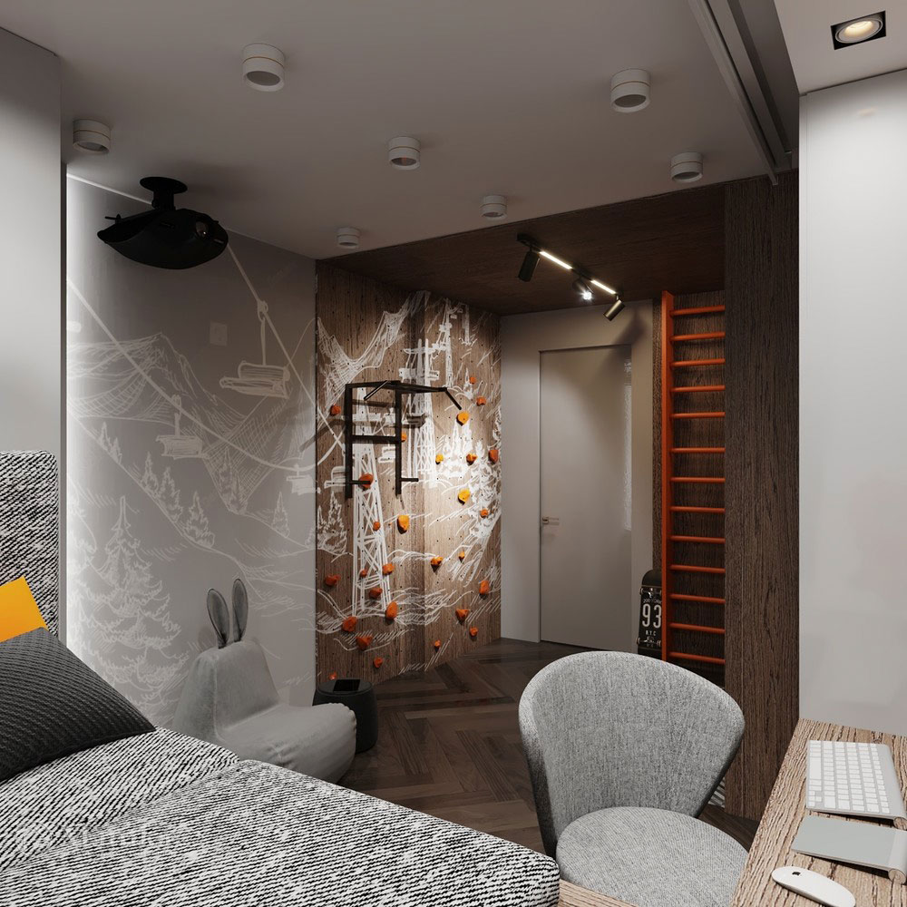 Детская комната для мальчика с просторной спортивной зоной 9