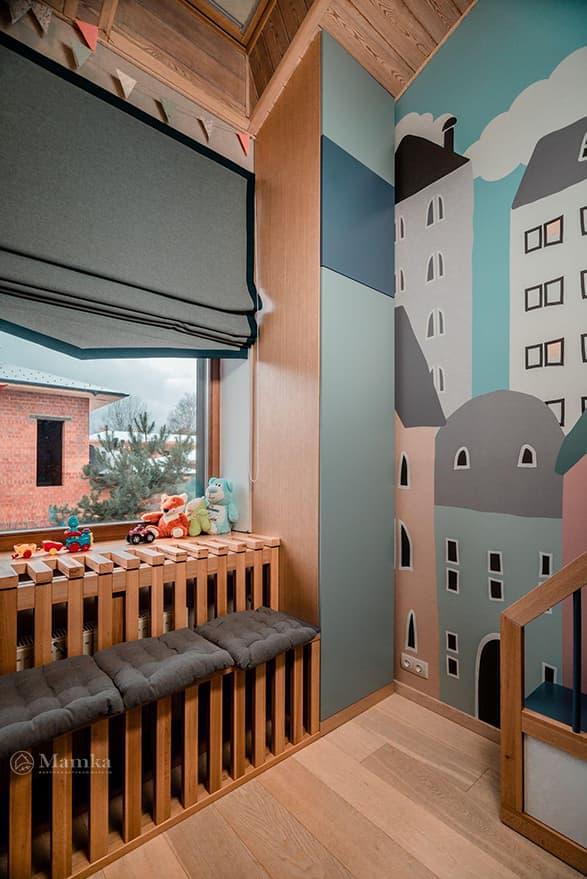Детская для совсем маленького малыша на мансардном этаже