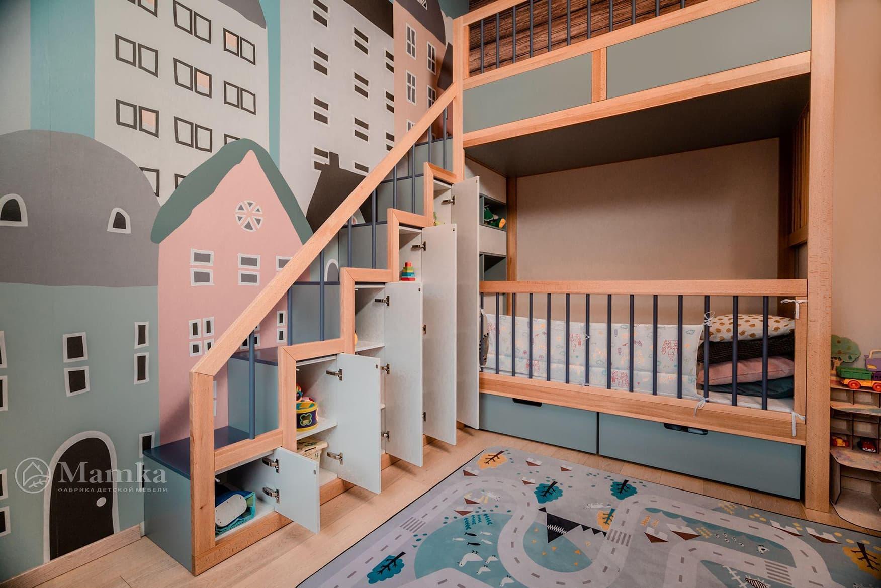 Детская комната в загородном доме на мансардном этаже фото 2
