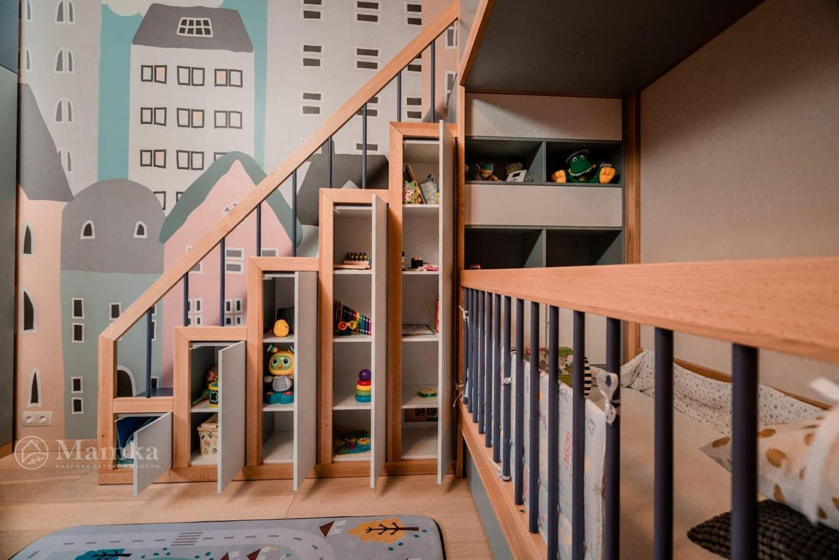 Детская комната в загородном доме на мансардном этаже фото 5