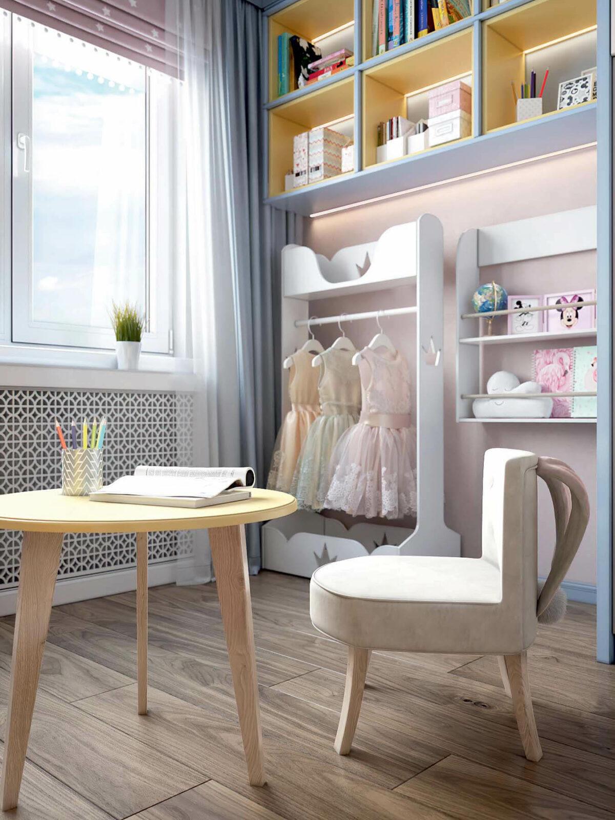 Детская мебель в комнату девочки проект 3983-4
