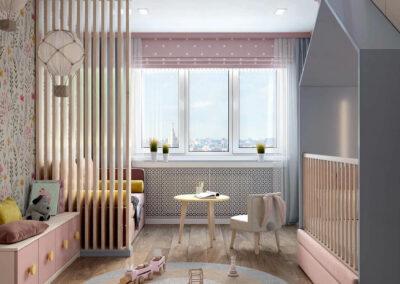 Детская мебель в комнату маленькой девочки — проект 3983