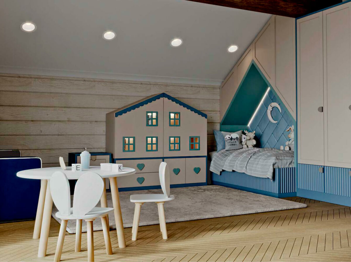 Детская мебель в комнату мальчика-дошкольника проект 5737-1