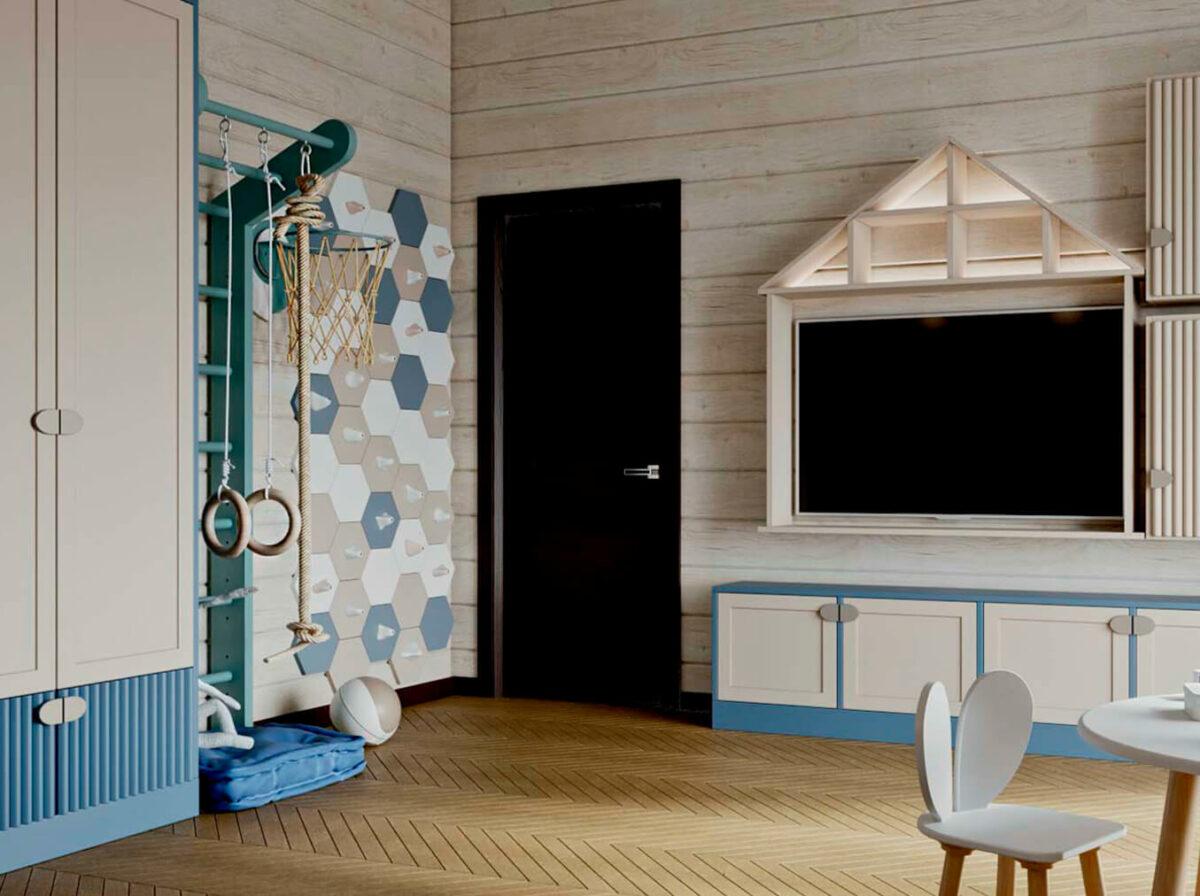 Детская мебель в комнату мальчика-дошкольника проект 5737-2