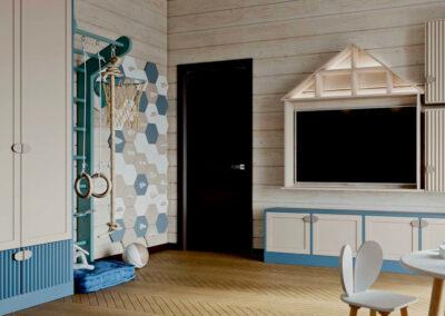 Детская мебель в бело-синих тонах в комнату мальчика-дошкольника — проект 5737