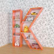 Детский стеллаж в интерьере буква К 1