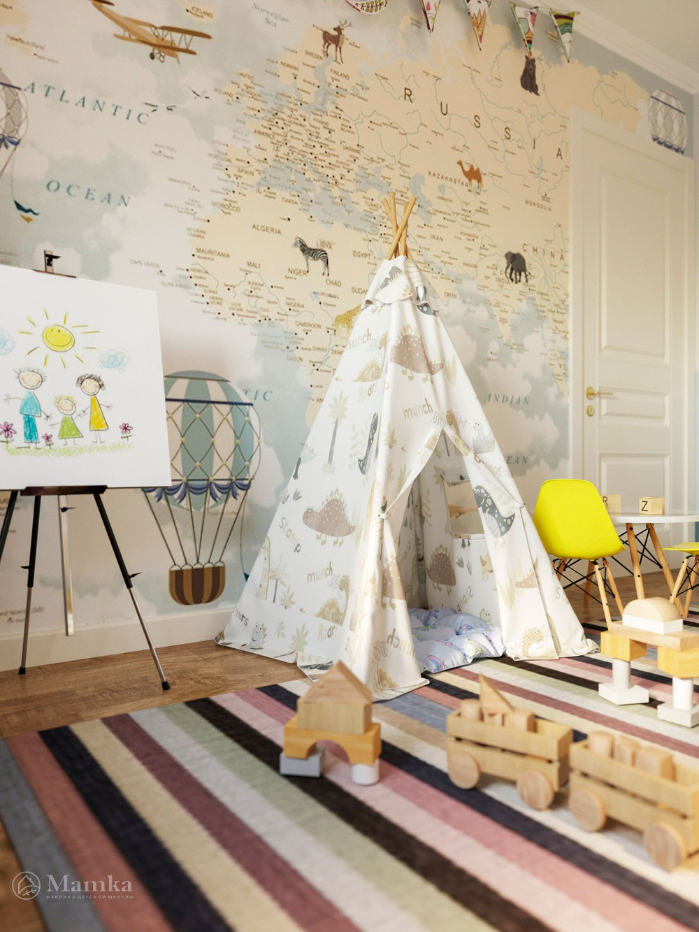 Дизайн детского уголка для мальчика в духе первооткрывателей 3