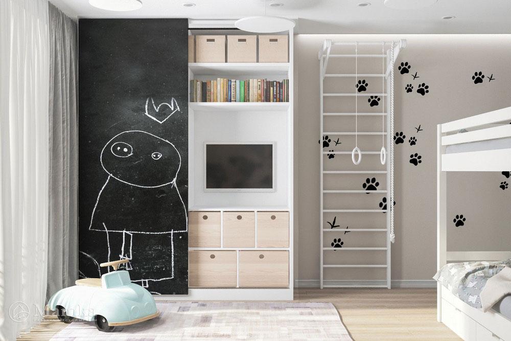 Дизайн детской для разнополых детей с практичным и уютным наполнением 4