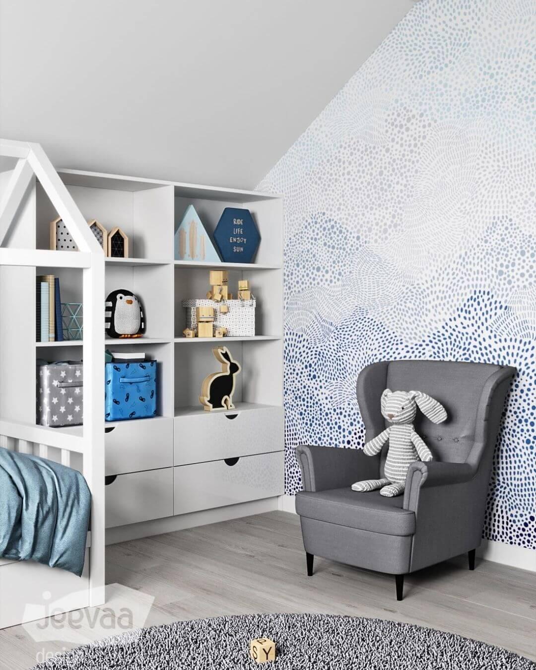 Дизайн детской комнаты дошкольников в бело-синих тонах 2