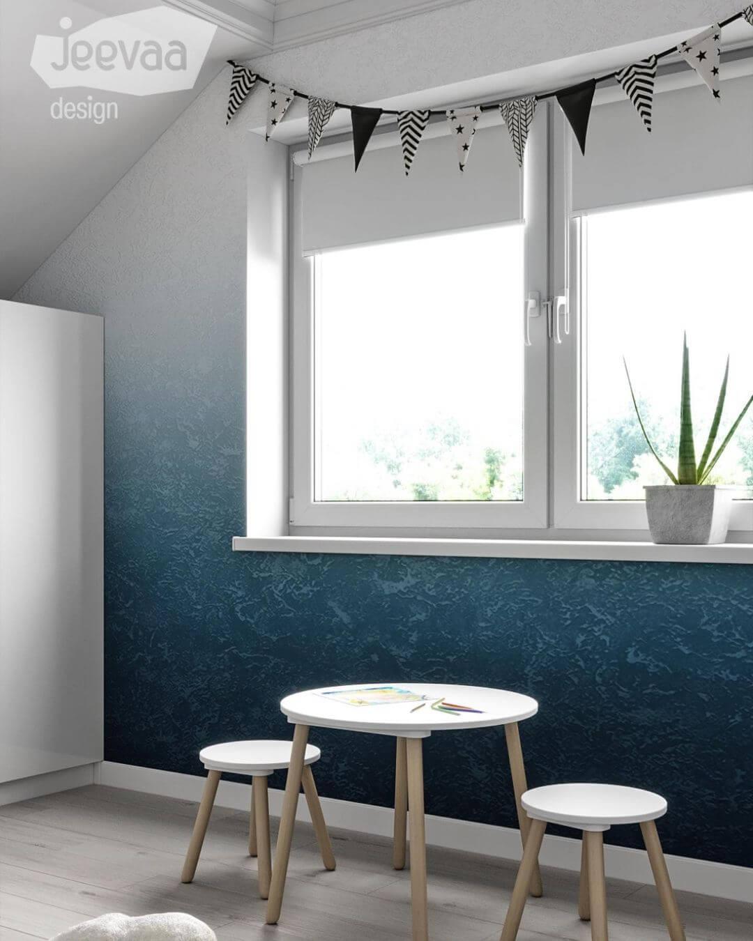 Дизайн детской комнаты дошкольников в бело-синих тонах 5