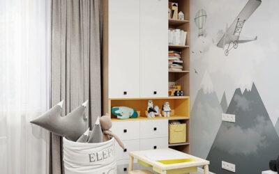 Дизайн детской комнаты для мальчика — интерьер в спокойных тонах с яркими акцентами