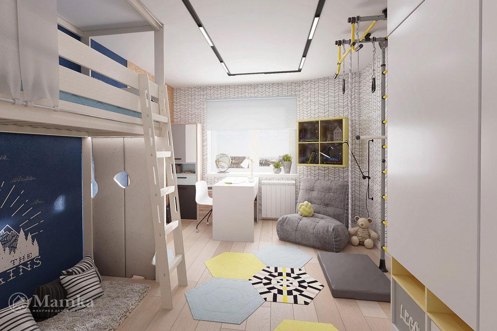 Интерьер детской комнаты с удобным и практичным наполнением 1
