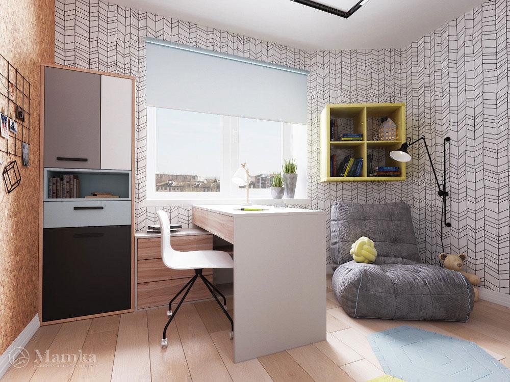 Интерьер детской комнаты с удобным и практичным наполнением 2