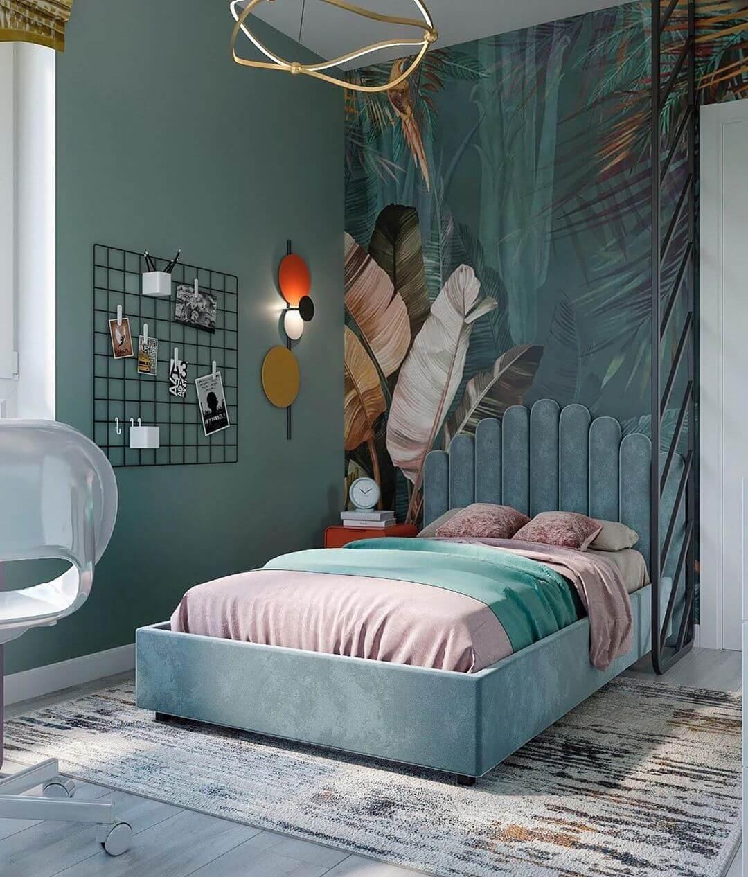 Дизайн детской спальни девочки в светло-зеленых тонах 1