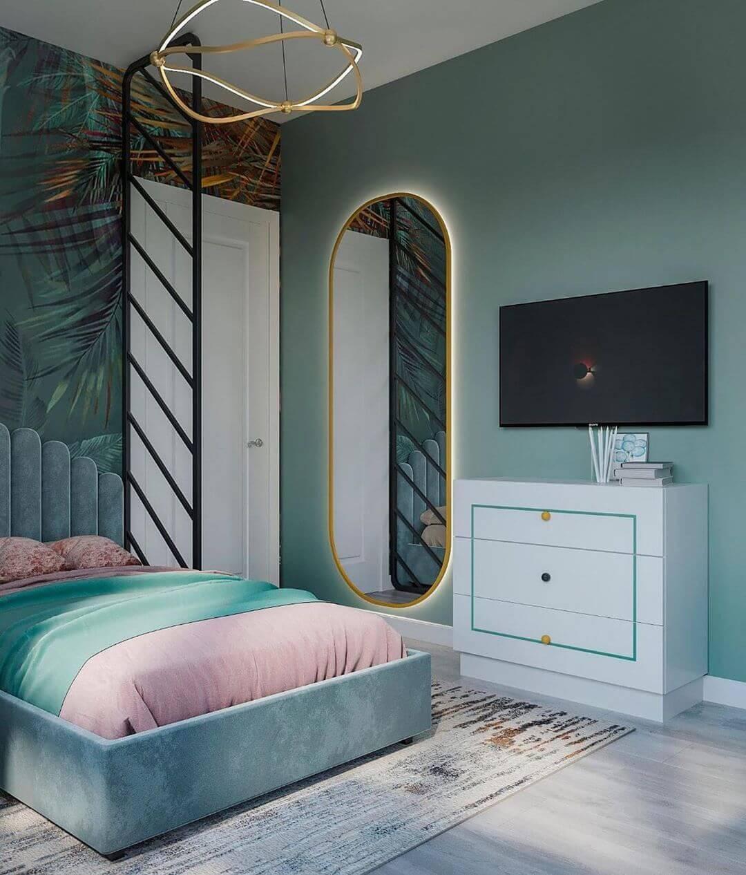 Дизайн детской спальни девочки в светло-зеленых тонах 2