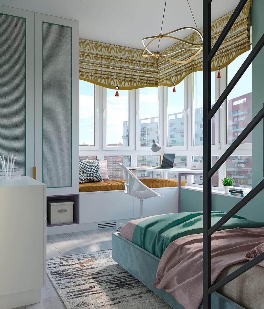 Дизайн детской спальни девочки в светло-зеленых тонах 3