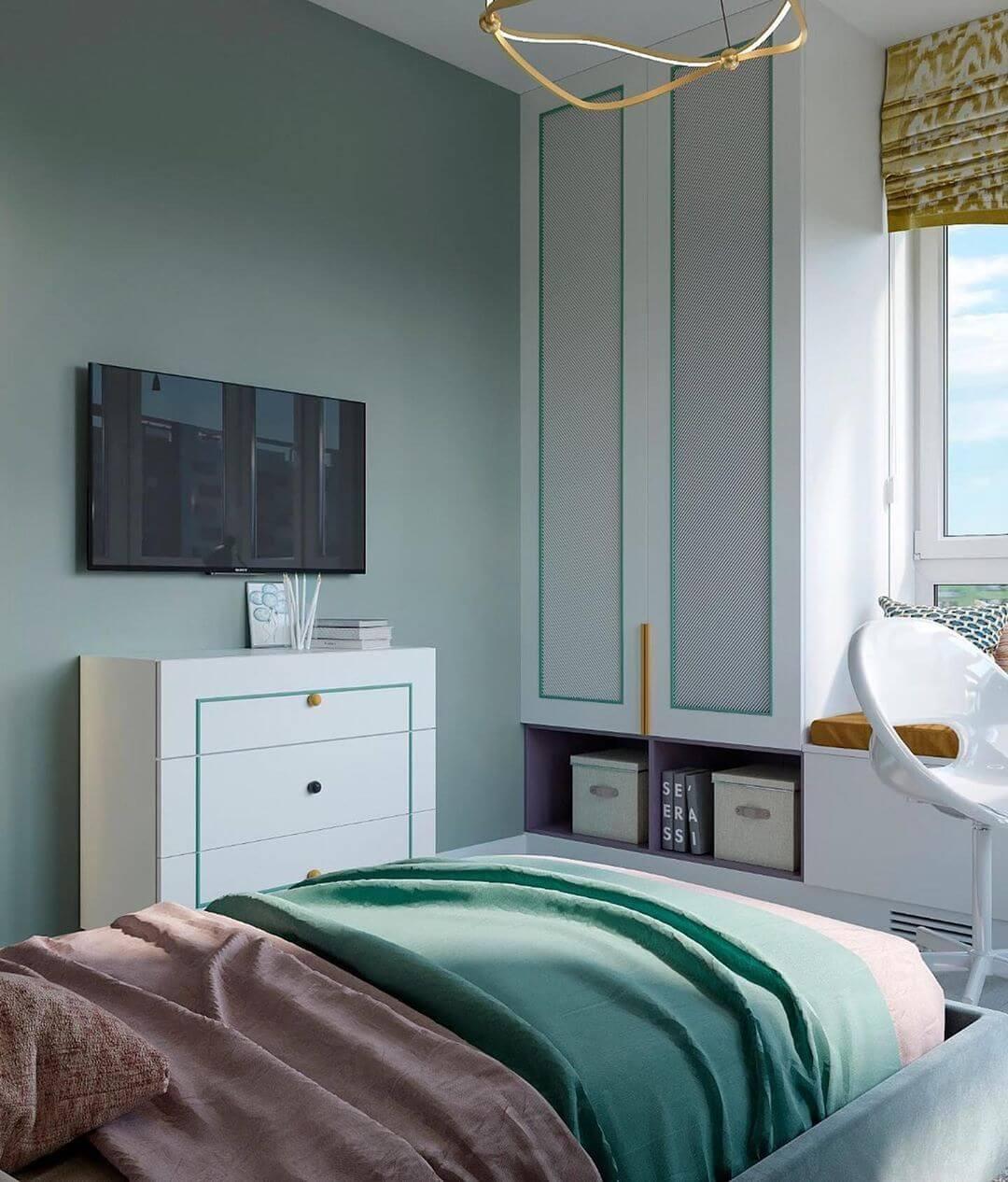 Дизайн детской спальни девочки в светло-зеленых тонах 5