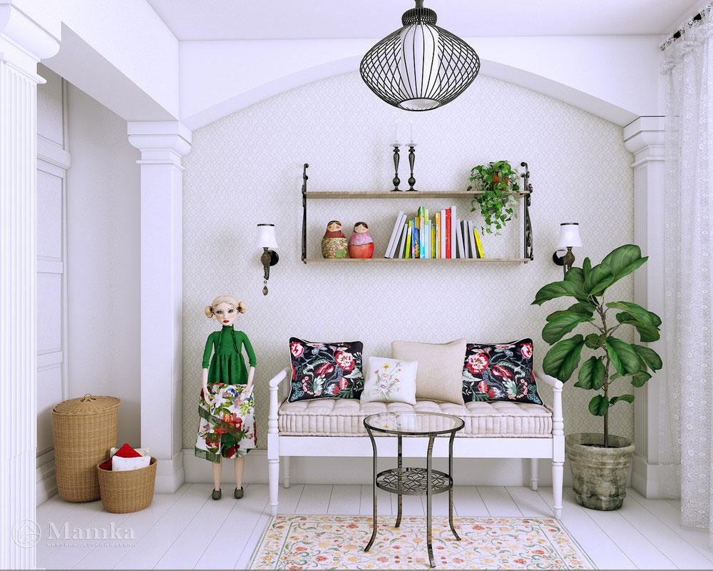 Дизайн интерьера детской спальни для девочки в белоснежном оформлении 3