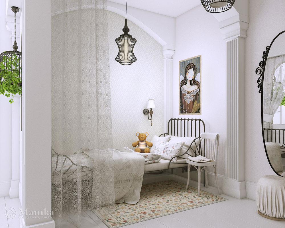 Дизайн интерьера детской спальни для девочки в белоснежном оформлении 4