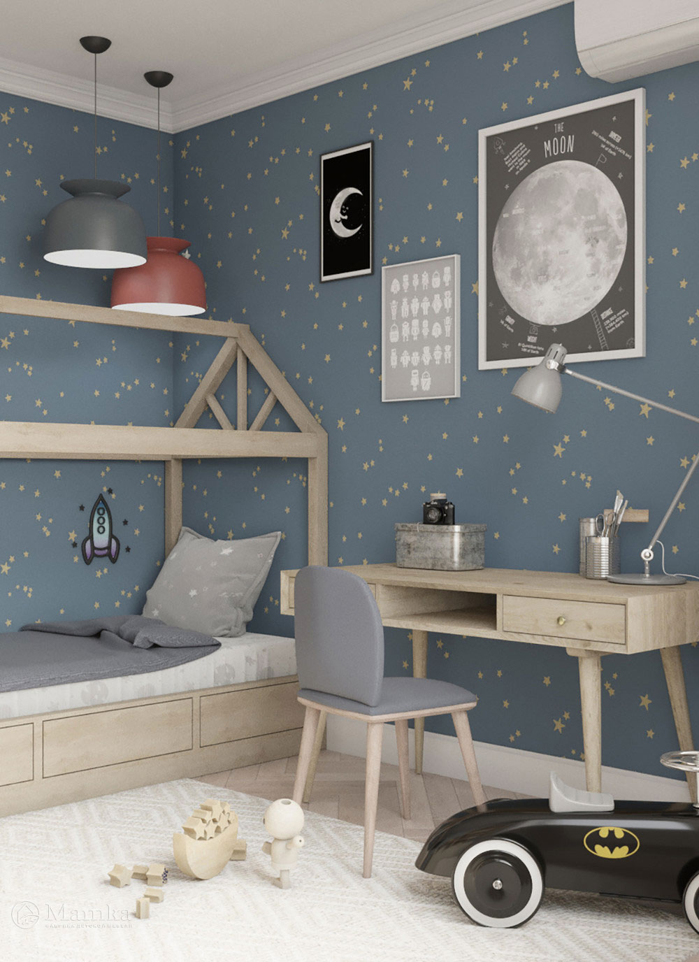 Красивый дизайн детской спальни для игр и отдыха 1