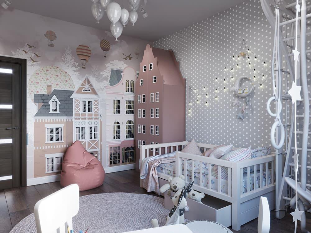 Дизайн интерьера детской для девочки с необычной мебелью 1