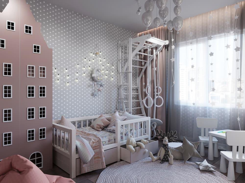 Дизайн интерьера детской для девочки с необычной мебелью 2
