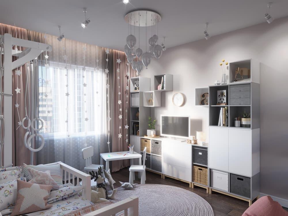 Дизайн интерьера детской для девочки с необычной мебелью 3