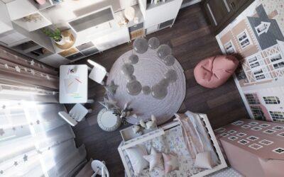 Дизайн интерьера детской для девочки с необычной мебелью