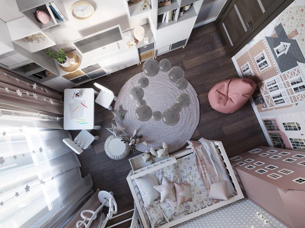 Дизайн интерьера детской для девочки с необычной мебелью 4