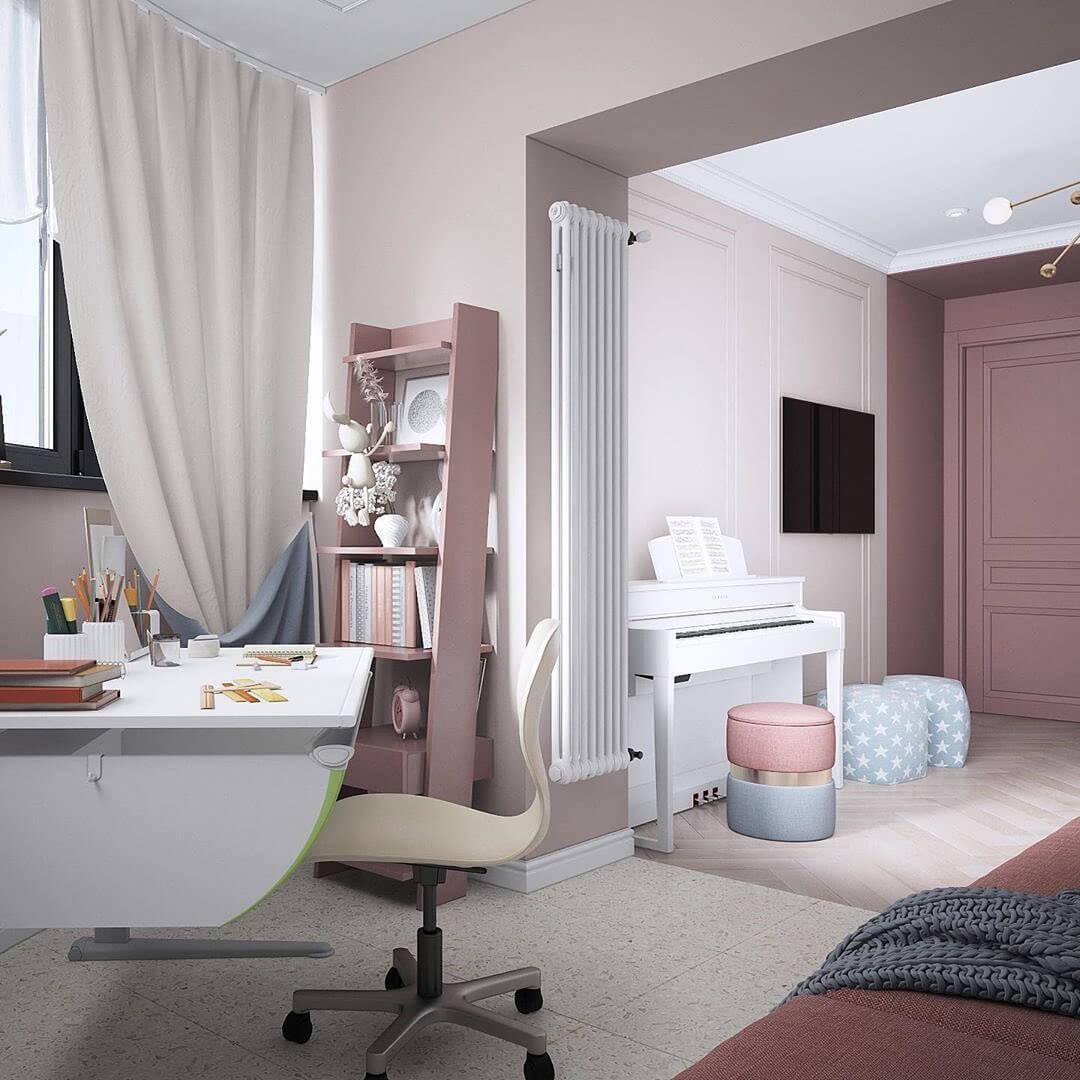 Дизайн интерьера спальни для двух девочек 4