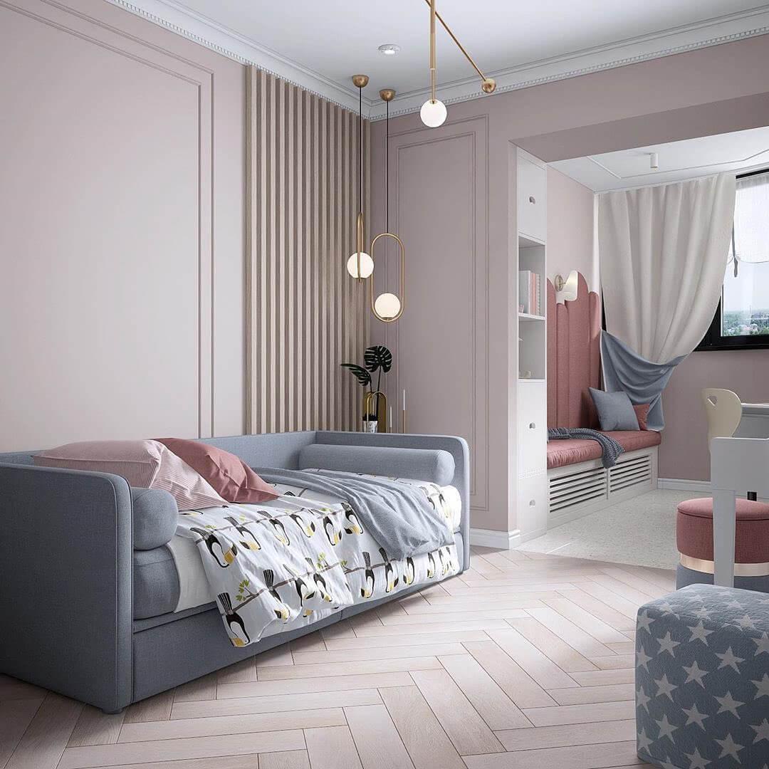 Дизайн интерьера спальни для двух девочек 5