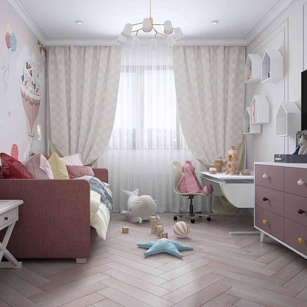 Дизайн интерьера спальни для двух девочек 8