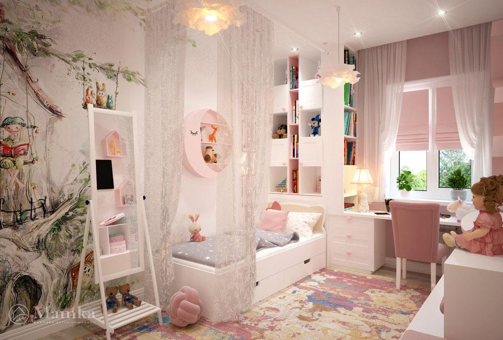Дизайн маленькой детской для девочки в нежных розовых красках 1