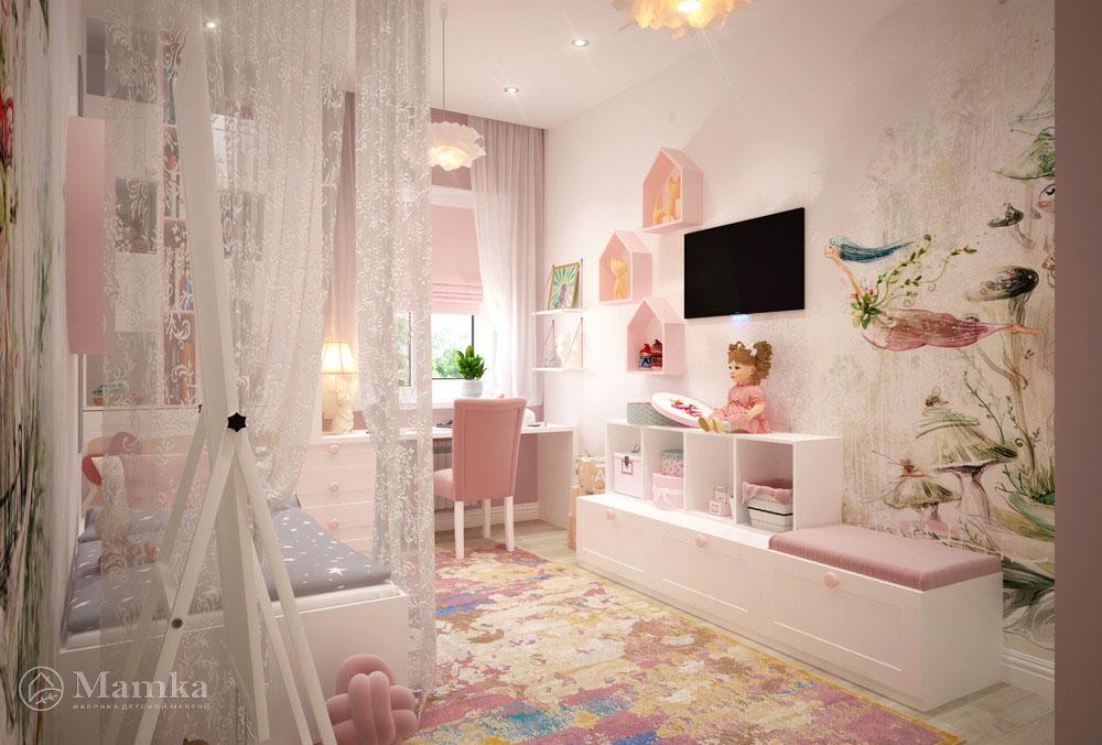 Дизайн маленькой детской для девочки в нежных розовых красках 2