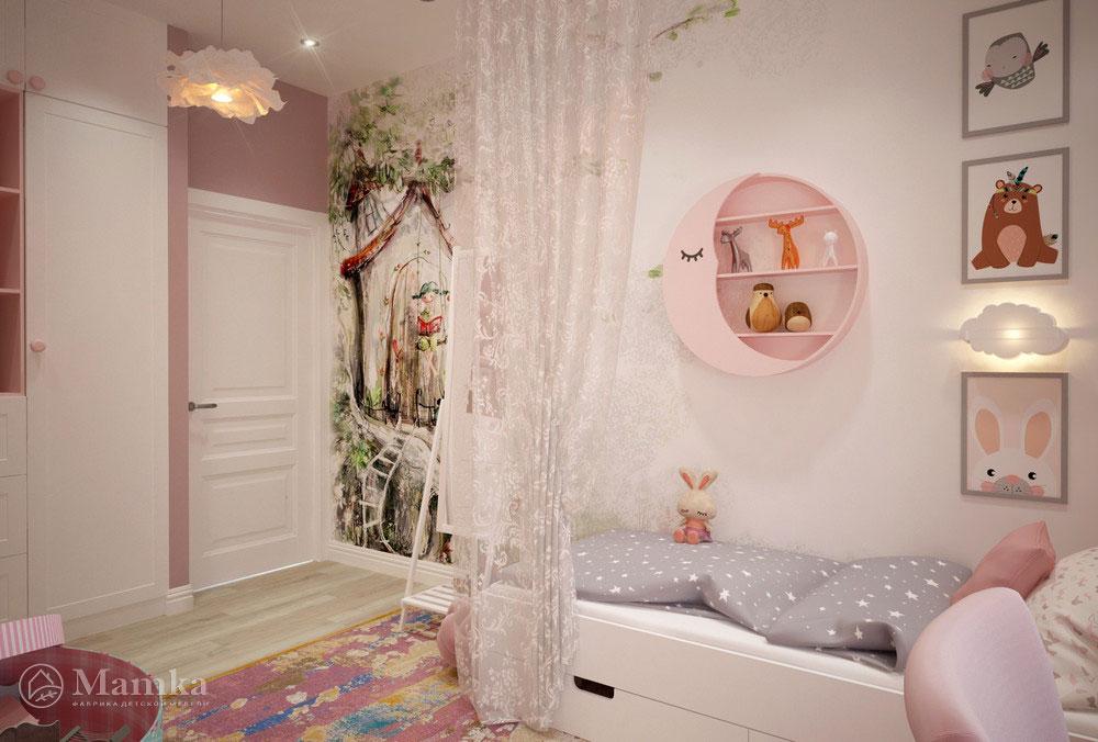 Дизайн маленькой детской для девочки в нежных розовых красках 4