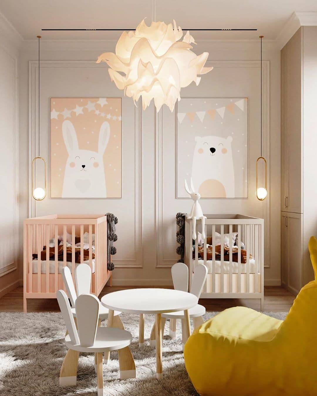 Дизайн-проект маленькой детской комнаты для девочек двойняшек 1