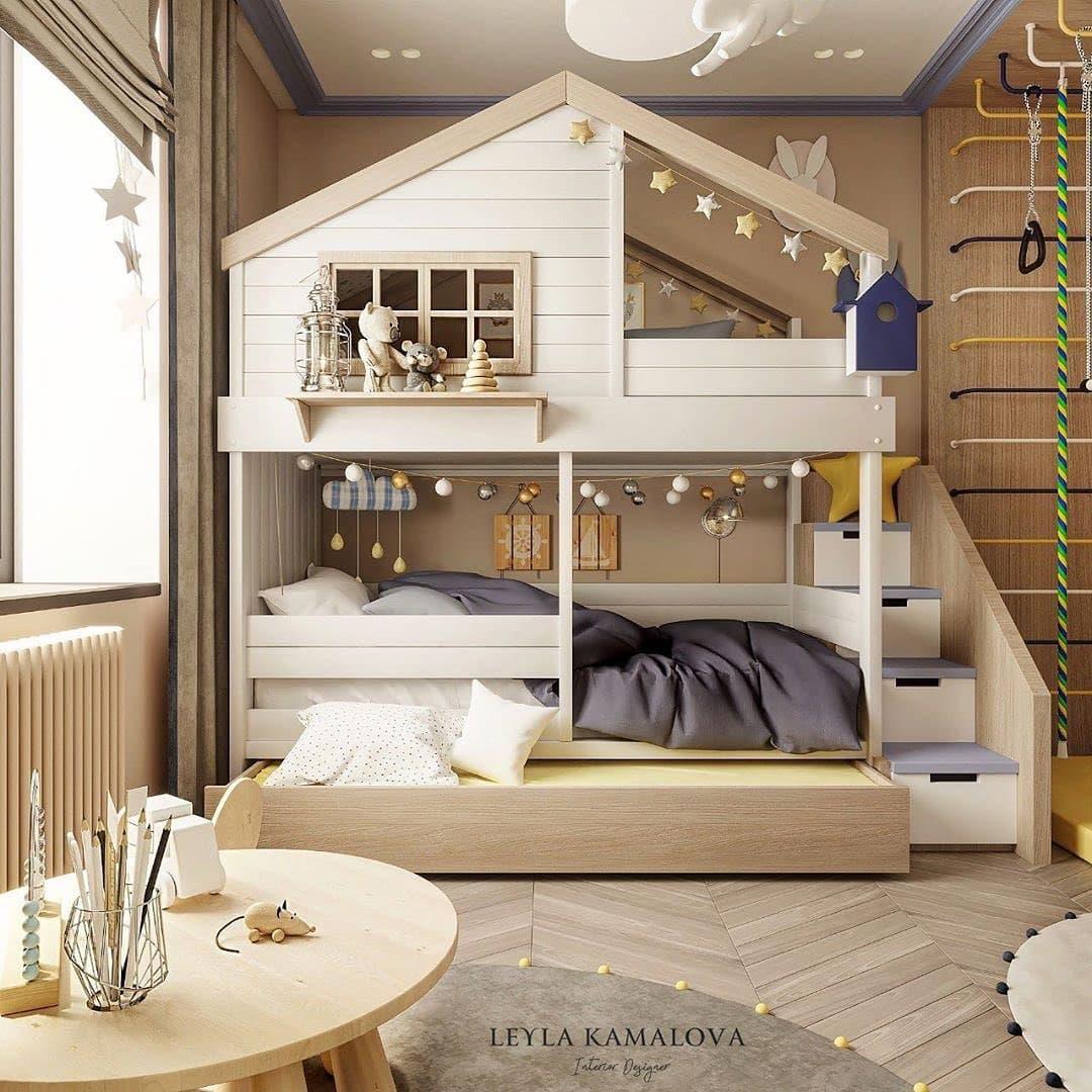 Дизайн-проект маленькой детской комнаты со спортивным уголком 1